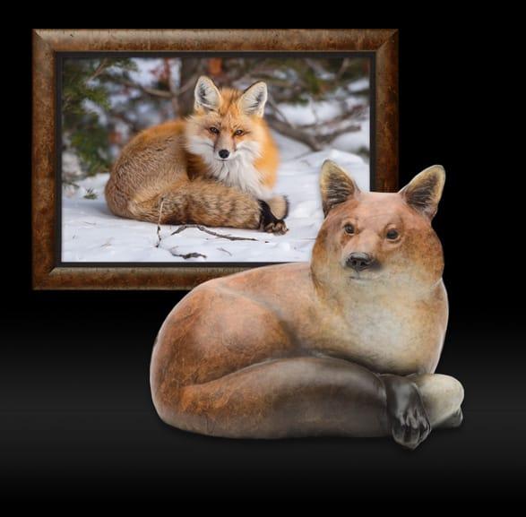 Bronze Sculpture of Snuggled In - Red Fox