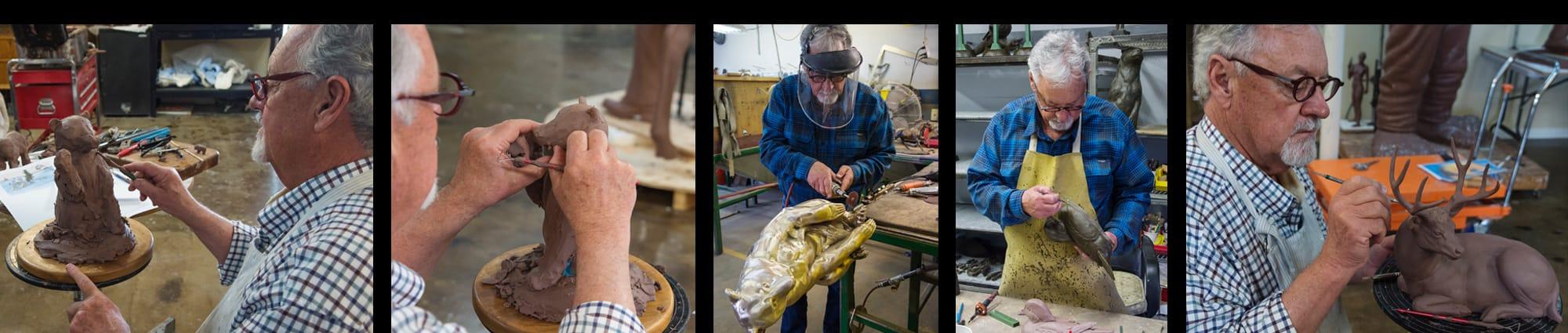 Pictures of Thomas D. Mangelsen sculpting